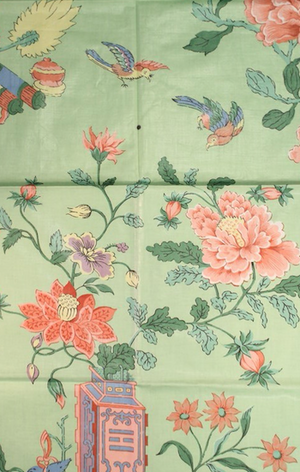 Chinoiserie Celadon Green Glazed Chintz Floral Fabric