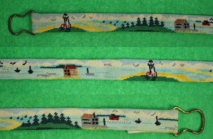 "Hand-Needlepoint Belt w/ Coastal Cottages & Lighthouses Sz: 30""W"