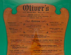 Oliver's Miami Beach Menu Board