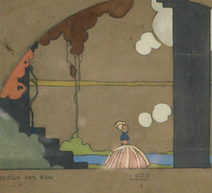 """Design For A Fan"" 1923 Pastel of Stage Set by Cecil Beaton"