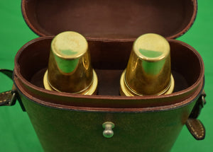 'Gucci Twin Glass/ Brass Lid Flasks In Leather Case w/ Strap'