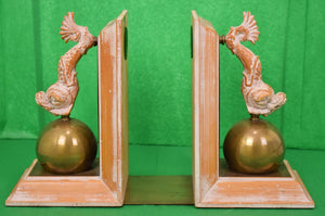 Pair of Oliver Messel Cockade House Barbados Driftwood Dolphin Bookends