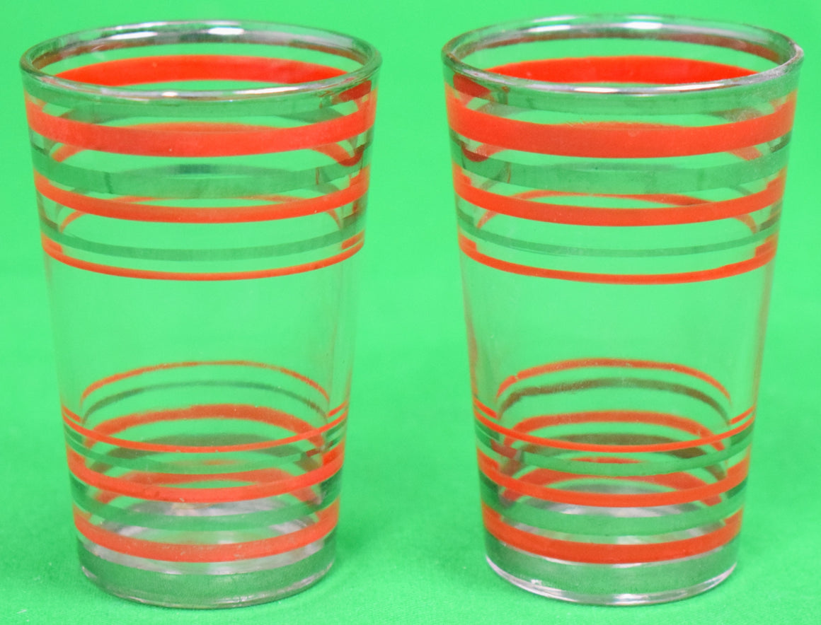 Pair of Red Stripe c1930s Shot Glasses w/ Silver Rims