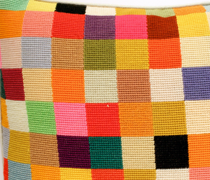 Patchwork Pastel c1960s Needlepoint Pillow