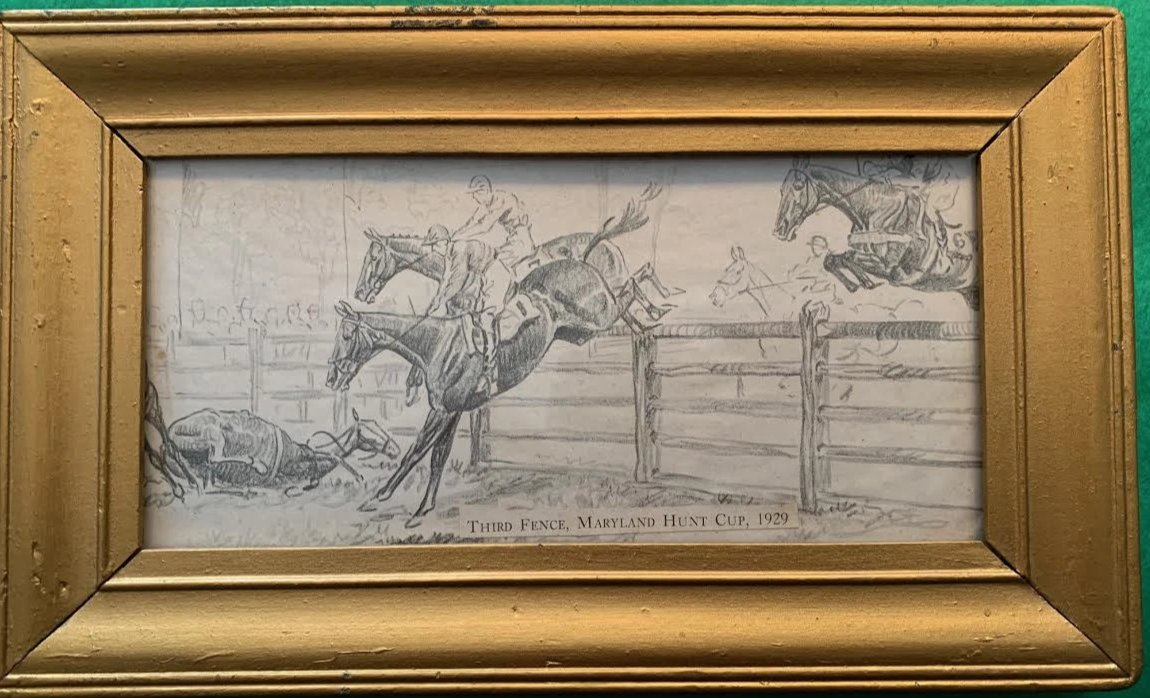 Third Fence, Maryland Hunt Cup, 1929' Print by Paul Desmond Brown (1893-1958) (Sold!)
