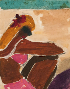 Seated Woman in Pink Bathing Suit by Reynaldo Luza (1893-1978)