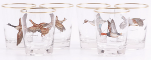 Set of 6 Frank Vosmansky for Abercrombie & Fitch Game Bird 'Rocks' Glasses