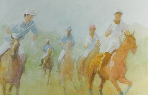 Blue Team Advancing Original Polo c.1997 Watercolour by Williamson Douglas (1942-1998)