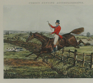 Topping a Flight of Rails and Coming Well into the Next Field 1850 by Henry Alken