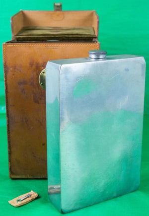 James Dixon & Sons Twin Made in England Sheffield 128 oz Flasks w/ Saddle Leather  Case Stamped: WSB w/ Key in Pouch