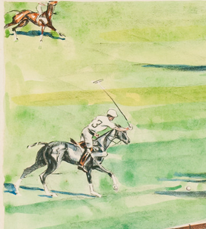 Polo Match at Intl Meadowbrook c.1930's Colour Plate by Joseph Golinkin (1896-1977)
