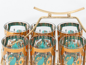 Set of 8 Equestrian c1950s Highball Glasses w/ Brass Rack