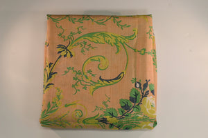 Scalamandre Hand-Print Melon Silk Fabric w/ Green & Blue Floral Print