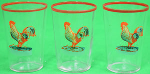 Set of 3 Hand-Painted Rooster Shot Glasses