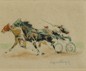 """French Harness Racing"" Pencil Signed LR"