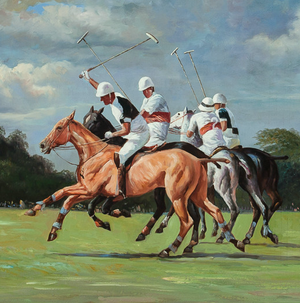 Myopia Polo Match c.1980's Oil on Canvas