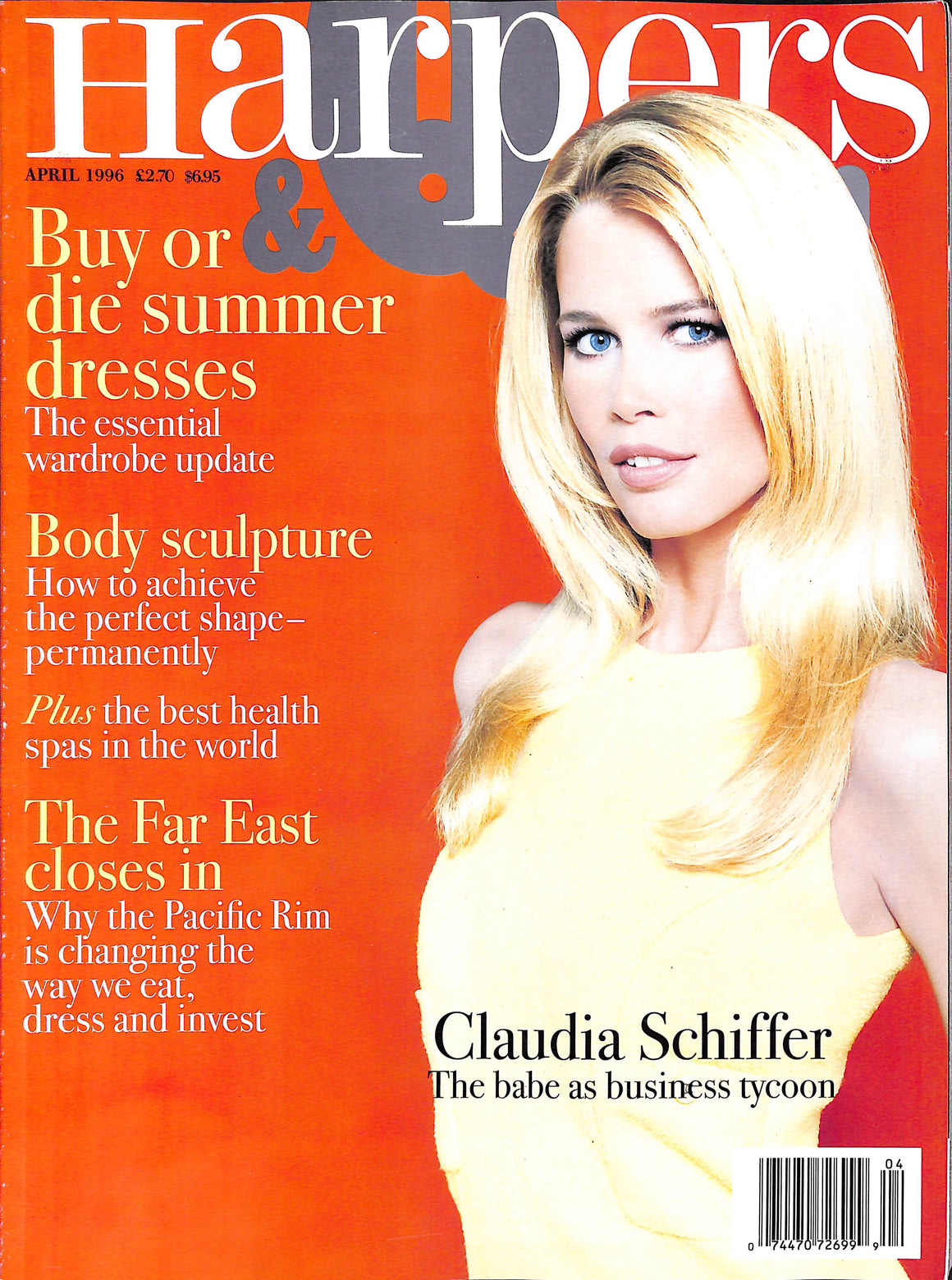 Harpers & Queen April 1996 w/ Claudia Schiffer Cover