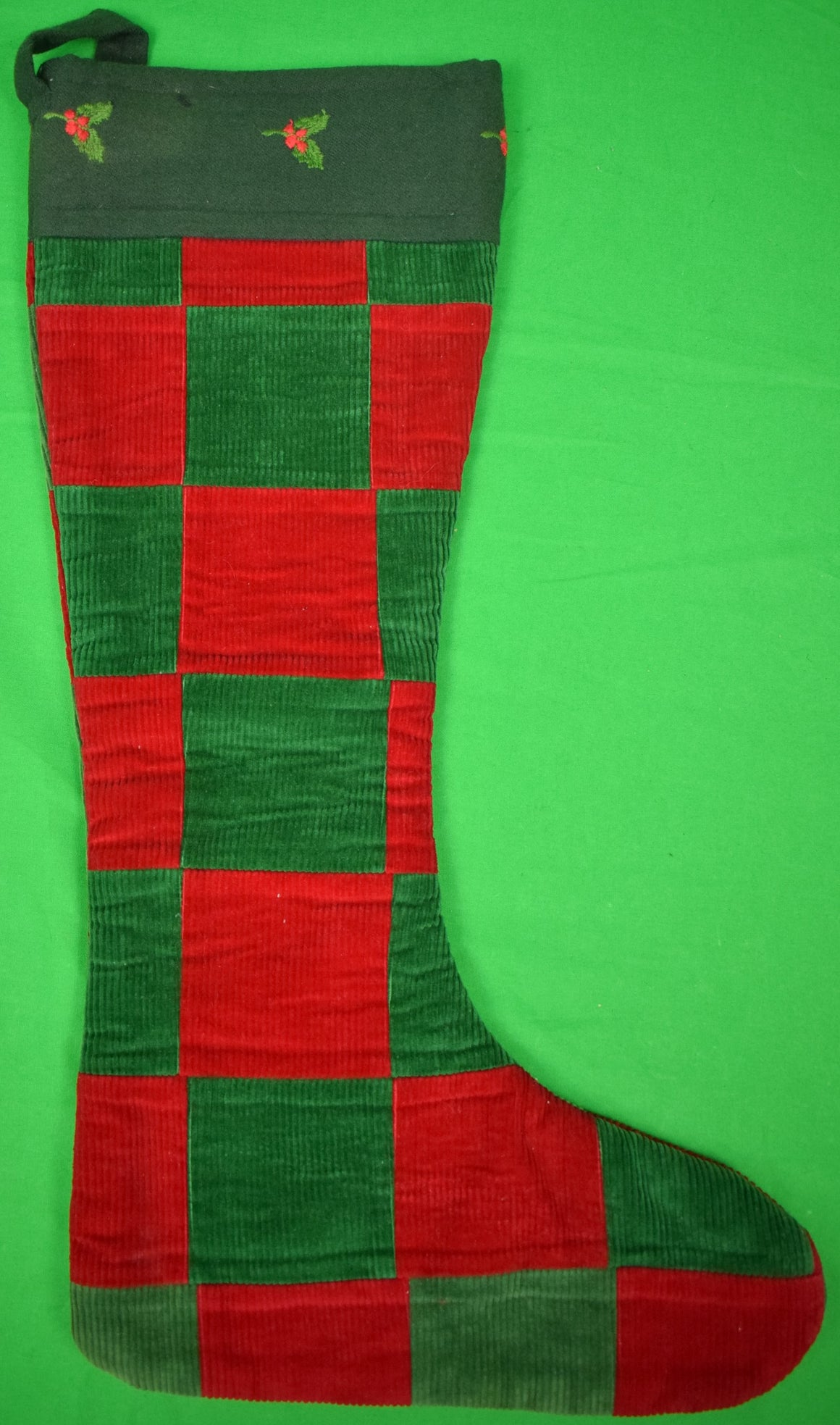 The Andover Shop Patchwork Red/ Green Corduroy Xmas Stocking (SOLD)