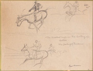 'The Cruelest Luck in the History of Aintree: The Parting of The Reins' Pencil Drawing by Paul Brown