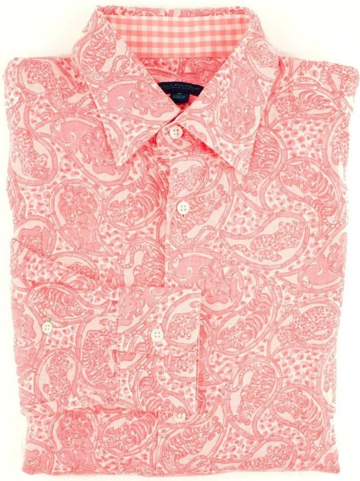 Lilly Pulitzer Via Palm Beach Leopard Print Sport Shirt