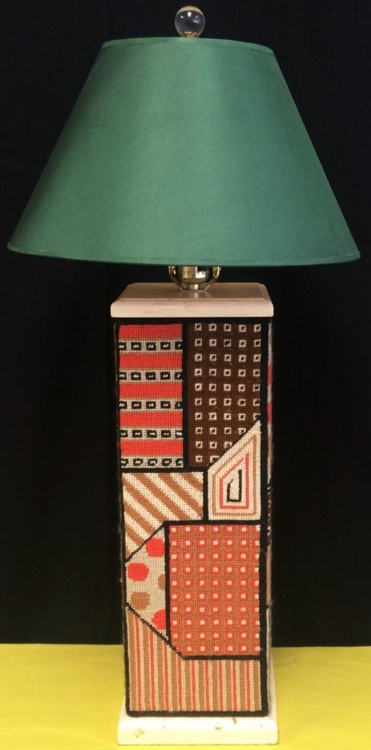 Geometric c1960s Needlepoint Table Lamp