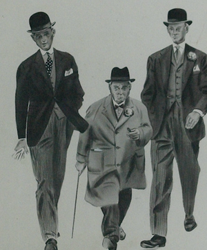 Three Gents Strolling Pen & Ink Drawing