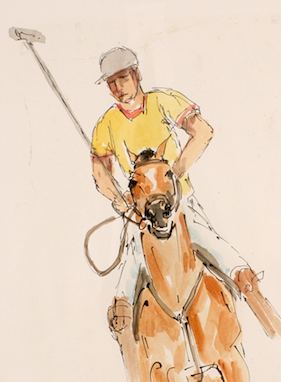 Polo Player c.1960s Watercolour by Wooster