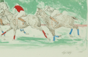 Three Polo Players c.1985 Hand-Colour Ltd Ed Print by Lloyd Kelly (b.1946-)