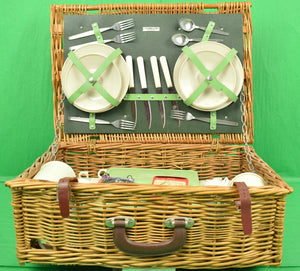 Green Abercrombie & Fitch English Wicker Picnic Hamper