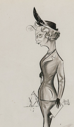 "Original Pen & Ink c1955 Drawing of a Fashionable Lady at Turf Race by ""Peb"" (b.1926-)"