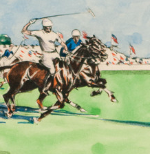 International c.1930's Polo Match at Meadowbrook by Joseph Golinkin (1896-1977)