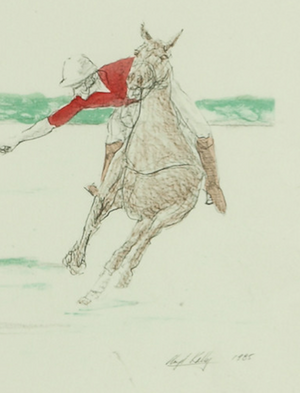 Red Jersey Polo Player c.1985 Hand-Colour Print by Lloyd Kelly (b.1946-)