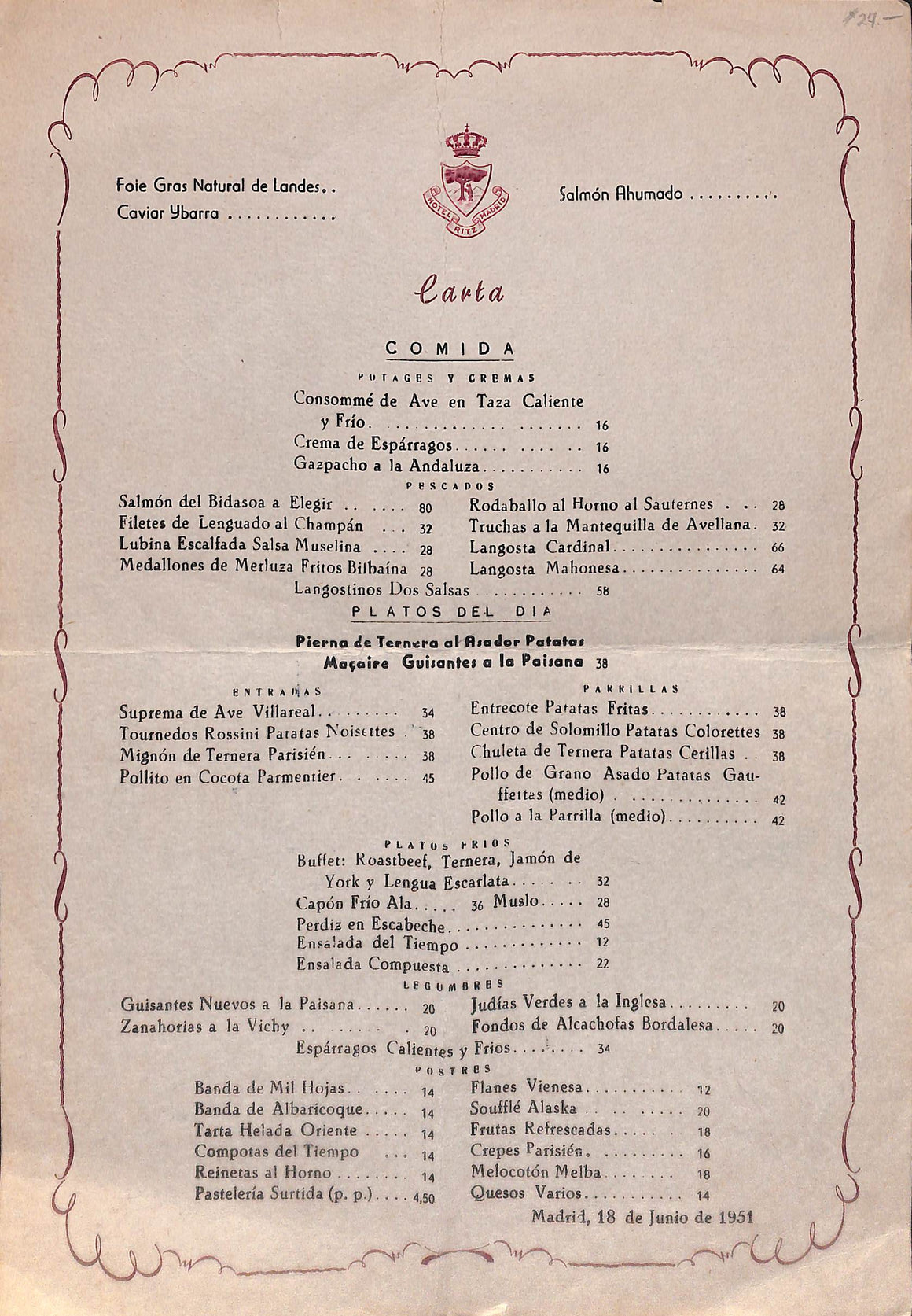 Hotel Ritz Madrid Menu