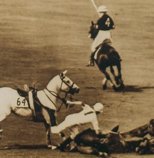 'Polo Mishap on The Field' B&W Framed c.1940's Photo by 'Freudy'