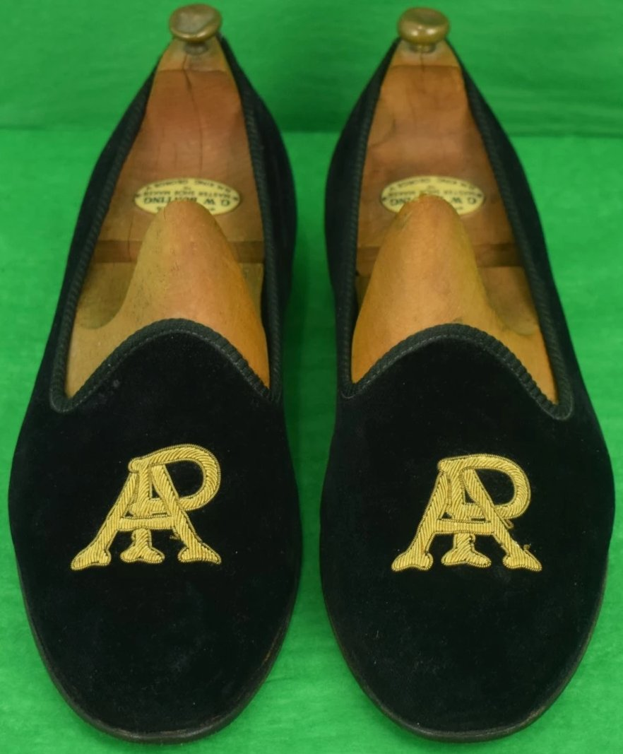 "Edward Green for Maus & Hoffman ""AP"" Black Velvet Slippers Sz: 11-1/2"