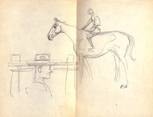 'Horse & Jockey' Pencil Drawing by Paul Brown