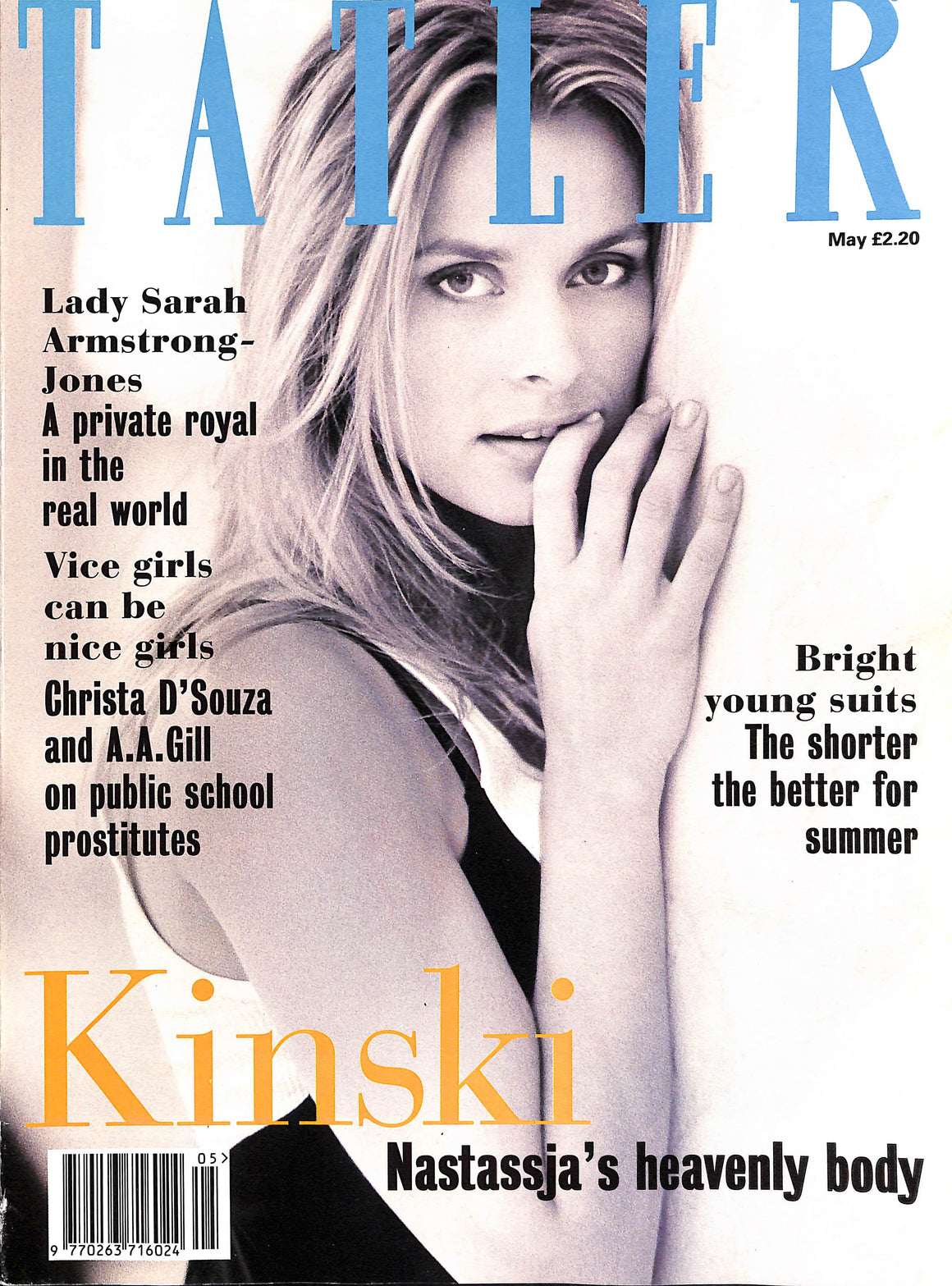 Tatler May 1994  Nastassja Kinski Cover (SOLD)