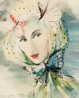 Butterfly Headdress 1945 Watercolour