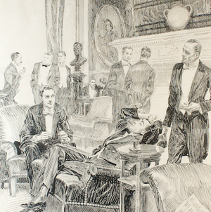 Gentlemen's Players' Club Pen & Ink Drawing by Orson B. Lowell