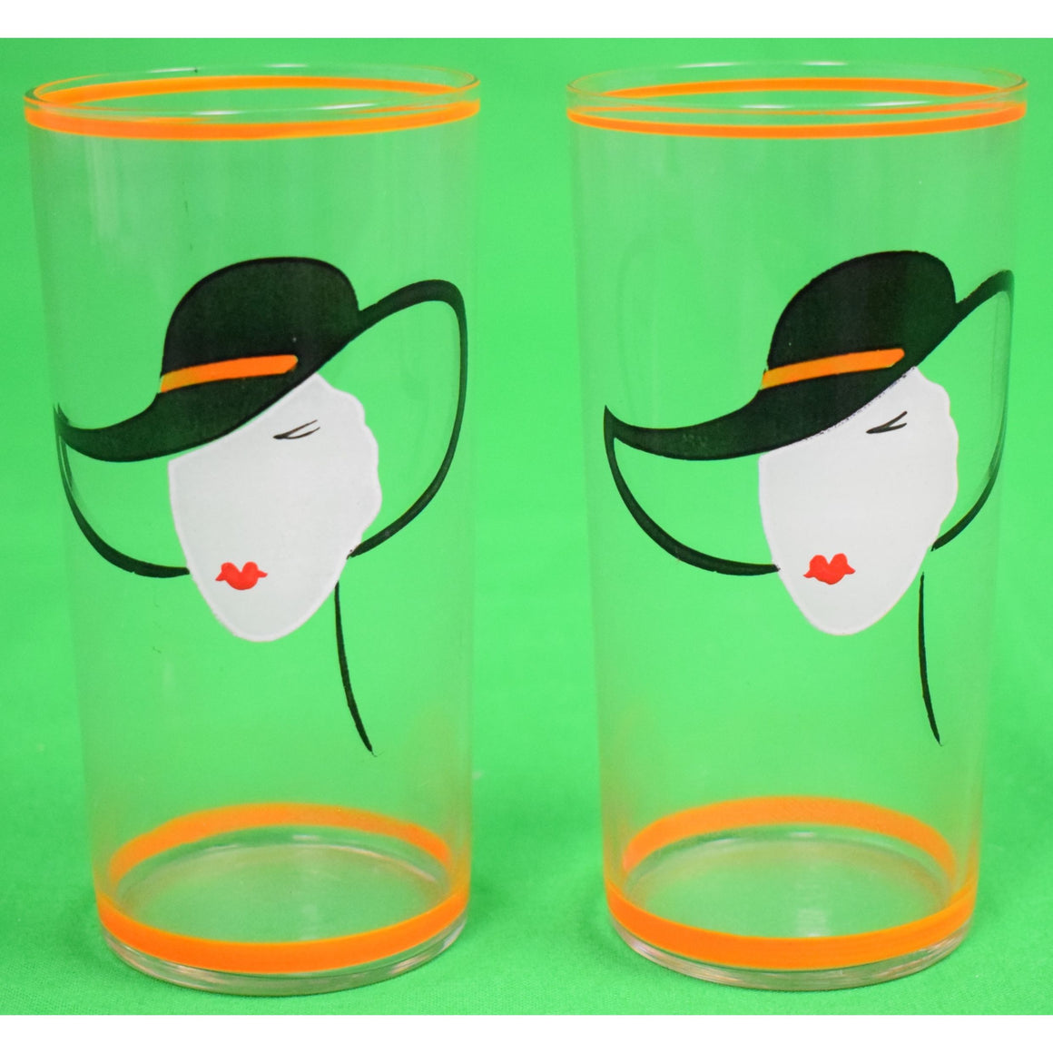 Pair of Hand-Painted Art Deco Cocktail Glasses w/ Lady