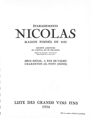 """Establissements Nicolas Liste Des Grands Vins Fins"" 1934"