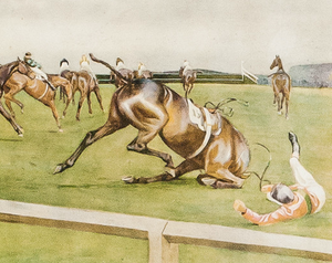 'The Grand National, Canal Turn' by Cecil Aldin