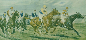 Six Steeplechasers Colour Lithograph by Geo Wright