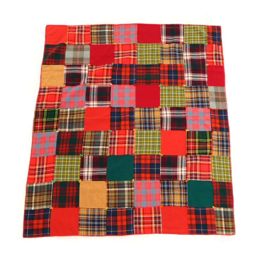 Tartan Plaid Patchwork Quilt w/ Blanket Stitch Edging'