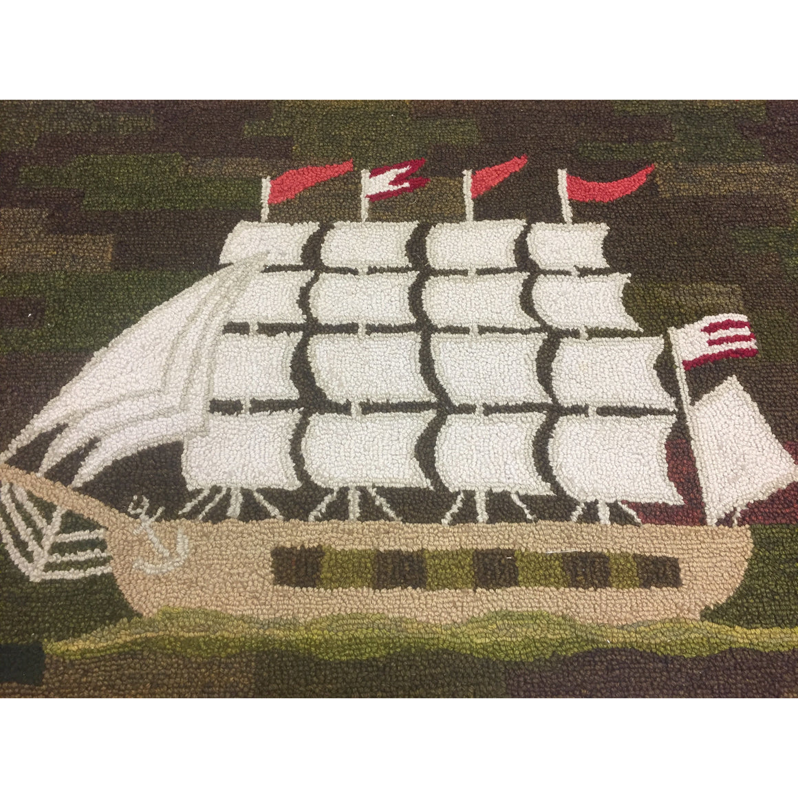 'Clipper Ship' Hand-Loomed Rug 1959 by George Wells of Locust Valley, L.I.