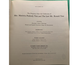 """The Property from The Collection of Mrs Marietta Peabody Tree and The Late Ronald Tree"" 1976 Sotheby's"