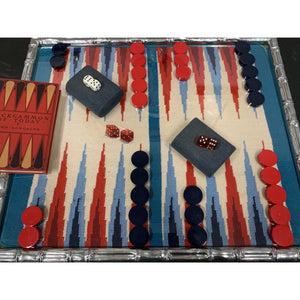 'Needlepoint Backgammon Board Under Glass in Silver Gilt Bamboo Frame'