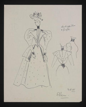 The Second Mrs Tanqueray Act III 1950 Haymarket Theatre Costume Watercolour by Cecil Beaton