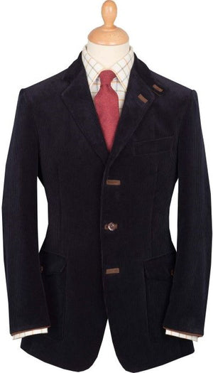 Cordings Picadilly Navy Cord w/ Choc Suede Trim Jacket Sz: 40R