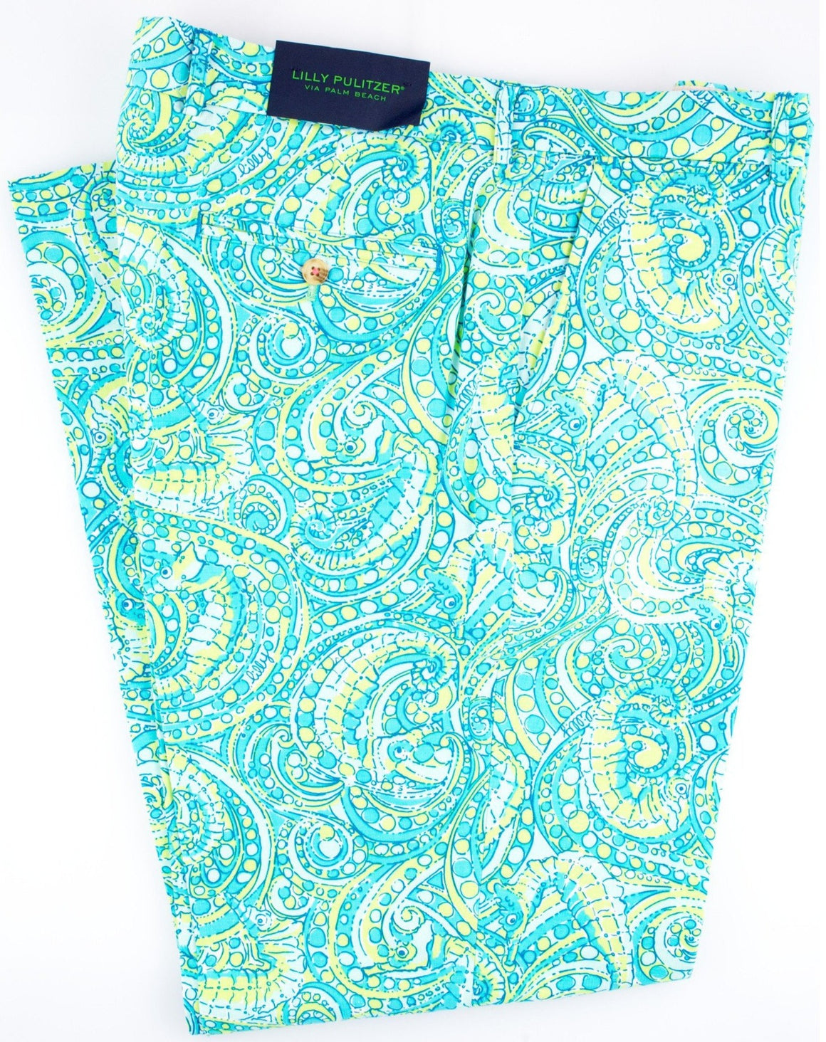 "Lilly Pulitzer Seahorse Print Trousers Sz: 36""W"